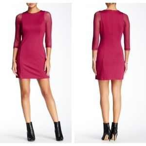 Jack B.B. Dakota Reilly Ponte Mesh Dress in Berry